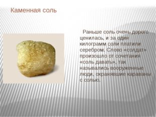 Каменная соль Раньше соль очень дорого ценилась, и за один килограмм соли пла