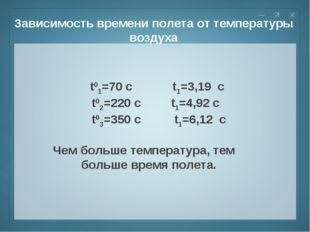 Зависимость времени полета от температуры воздуха t01=70 c t1=3,19 c t02=220