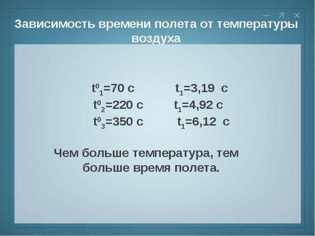 Зависимость времени полета от температуры воздуха t01=70 c t1=3,19 c t02=220...