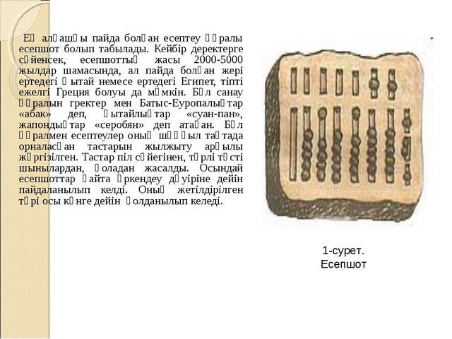 Ең алғашқы пайда болған есептеу құралы есепшот болып табылады. Кейбір дерект...