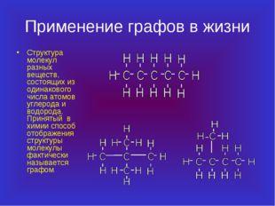 Применение графов в жизни Структура молекул разных веществ, состоящих из один