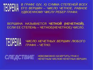 В ГРАФЕ G(V, X) СУММА СТЕПЕНЕЙ ВСЕХ ЕГО ВЕРШИН – ЧИСЛО ЧЕТНОЕ, РАВНОЕ УДВОЕНН