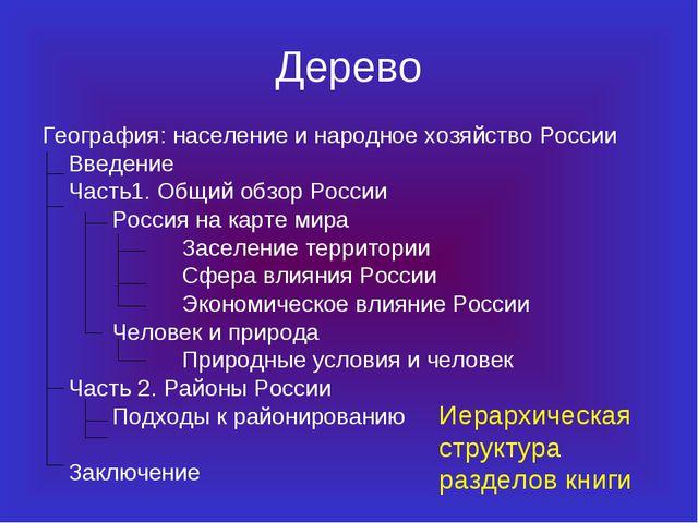 Дерево География: население и народное хозяйство России Введение Часть1. Об...