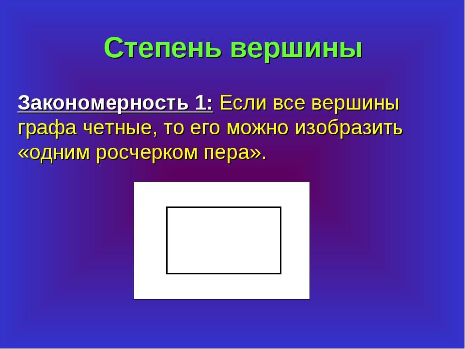 Степень вершины Закономерность 1: Если все вершины графа четные, то его можно...