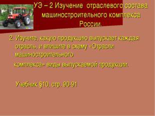 УЭ – 2 Изучение отраслевого состава машиностроительного комплекса России. 2.