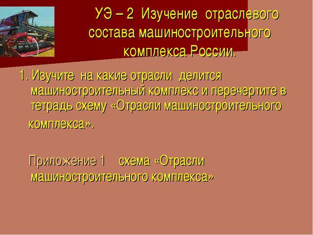 УЭ – 2 Изучение отраслевого состава машиностроительного комплекса России. 1....