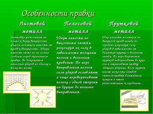 Особенности правки Листовой металлПолосовой металлПрутковой металл Заготов