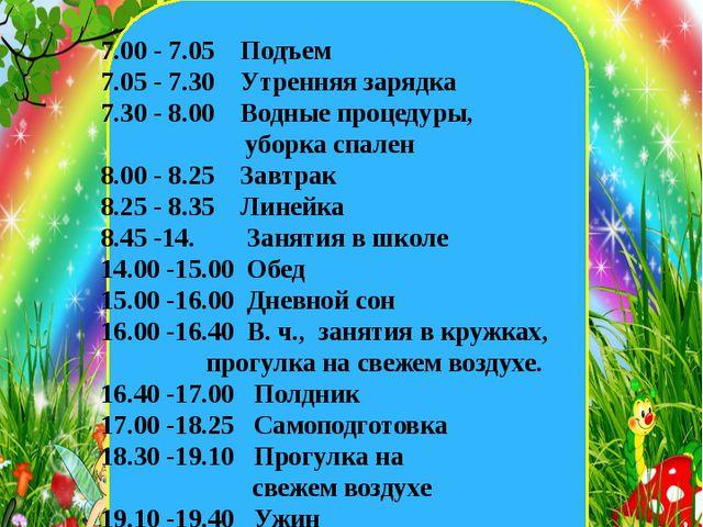екеннегнш 7.00 - 7.05 Подъем 7.05 - 7.30 Утренняя зарядка 7.30 - 8.00 Водные...