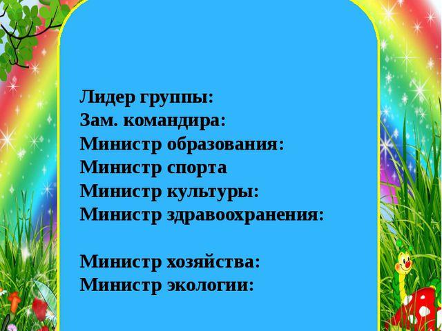 екеннегнш Лидер группы: Зам. командира: Министр образования: Министр спорта М...