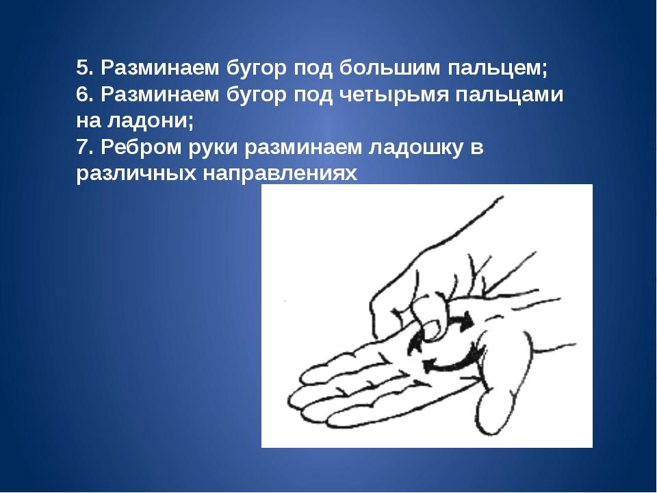 5. Разминаем бугор под большим пальцем; 6. Разминаем бугор под четырьмя пальц...