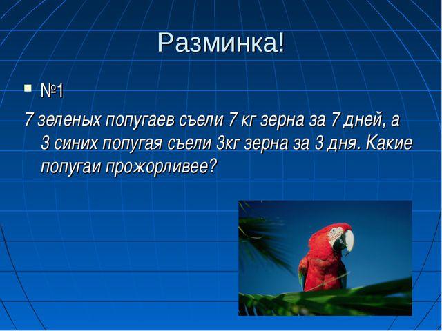 Разминка! №1 7 зеленых попугаев съели 7 кг зерна за 7 дней, а 3 синих попугая...