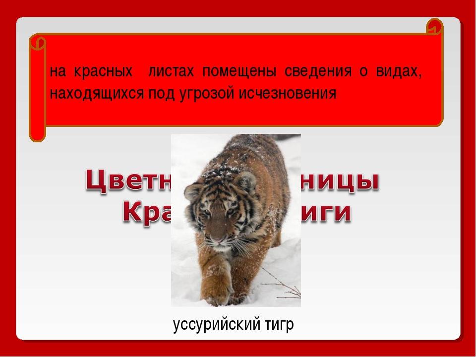 на красных листах помещены сведения о видах, находящихся под угрозой исчезнов...