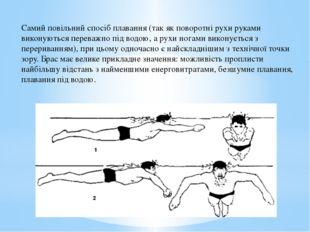Самий повільний спосіб плавання (так як поворотні рухи руками виконуються пе