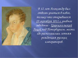 В 12 лет Александр был отвезен учиться в новое, только что открывшееся 19 ок