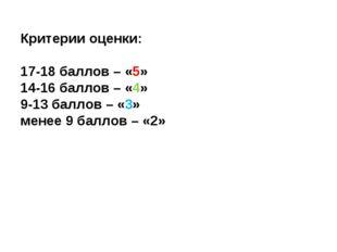 Критерии оценки: 17-18 баллов – «5» 14-16 баллов – «4» 9-13 баллов – «3» мен