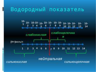 Водородный показатель [Н+]моль/л 10-1 10-2 10-3 10-4 10-5 10-6 10-7 10-8 10-9