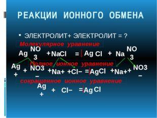 РЕАКЦИИ ИОННОГО ОБМЕНА ЭЛЕКТРОЛИТ+ ЭЛЕКТРОЛИТ = ? Ag NO3 Na Cl + Ag NO3− NO3
