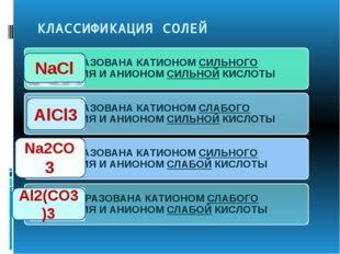 КЛАССИФИКАЦИЯ СОЛЕЙ NaCl AlCl3 Na2CO3 Al2(CO3)3 Вы знаете что диссоциация эле
