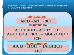 ГИДРОЛИЗ СОЛИ, ОБРАЗОВАННОЙ СЛАБЫМ ОСНОВАНИЕМ И СИЛЬНОЙ КИСЛОТОЙ Al3+ + HOH