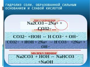 ГИДРОЛИЗ СОЛИ, ОБРАЗОВАННОЙ СИЛЬНЫМ ОСНОВАНИЕМ И СЛАБОЙ КИСЛОТОЙ CO32− + HOH