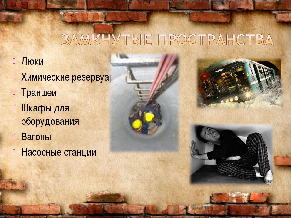Люки Химические резервуары Траншеи Шкафы для оборудования Вагоны Насосные ста...