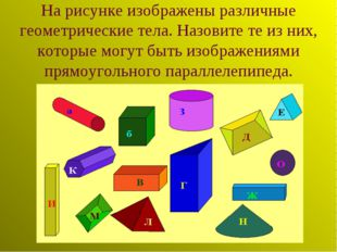 На рисунке изображены различные геометрические тела. Назовите те из них, кото