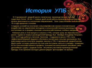 История УПБ В Сторожевской средней школе ученическая производственная бригада