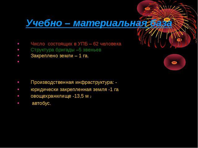 Учебно – материальная база Число состоящих в УПБ – 62 человека Структура бриг...