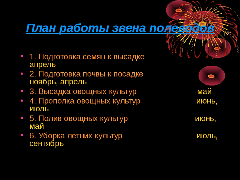 План работы звена полеводов 1. Подготовка семян к высадке апрель 2. Подготовк...