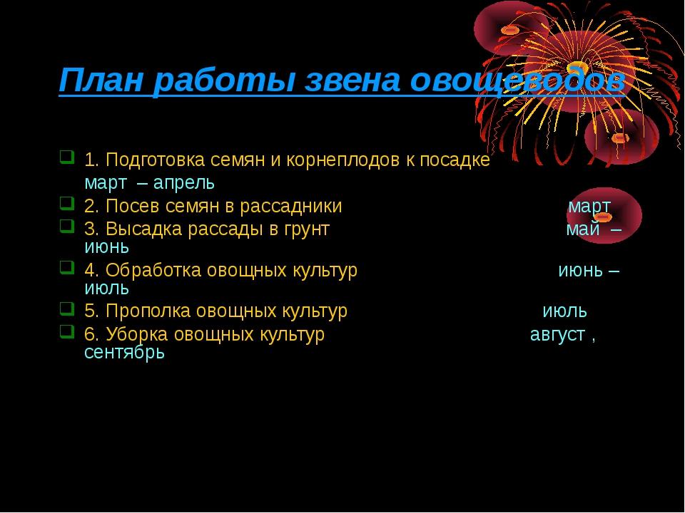 План работы звена овощеводов 1. Подготовка семян и корнеплодов к посадке март...