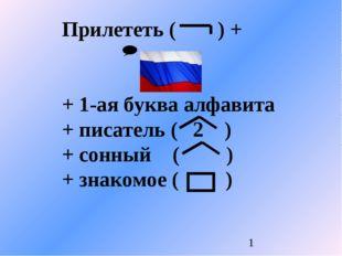 Прилететь ( ) + + 1-ая буква алфавита + писатель ( 2 ) + сонный ( ) + знакомо