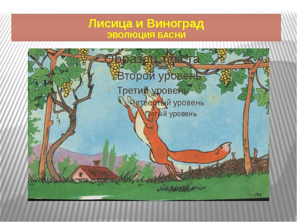 Лисица и Виноград ЭВОЛЮЦИЯ БАСНИ