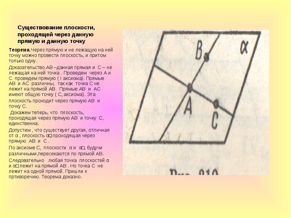 Существование плоскости, проходящей через данную прямую и данную точку Теорем...
