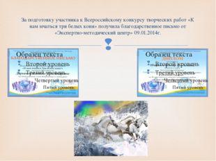 За подготовку участника к Всероссийскому конкурсу творческих работ «К нам мча