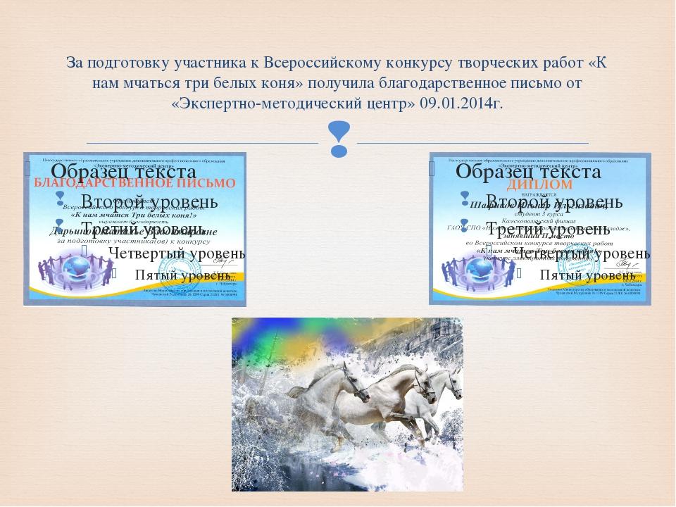 За подготовку участника к Всероссийскому конкурсу творческих работ «К нам мча...