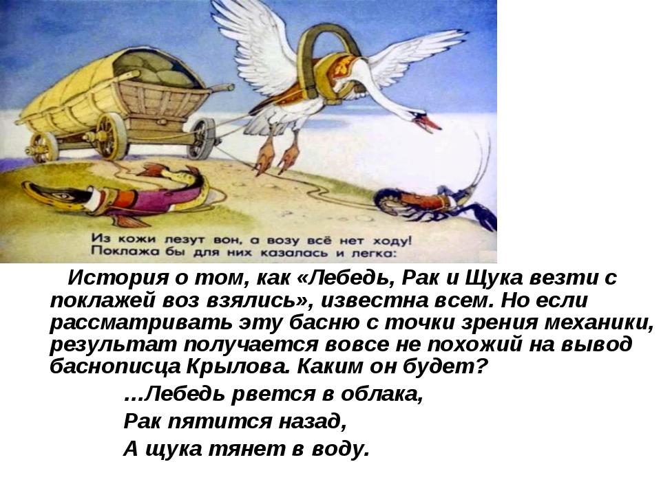 История о том, как «Лебедь, Рак и Щука везти с поклажей воз взялись», извест...