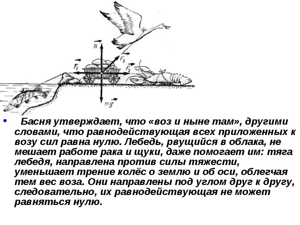 Басня утверждает, что «воз и ныне там», другими словами, что равнодействующа...