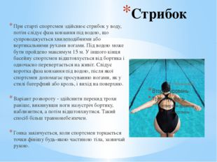 Стрибок При старті спортсмен здійснює стрибок у воду, потім слідує фаза ковза