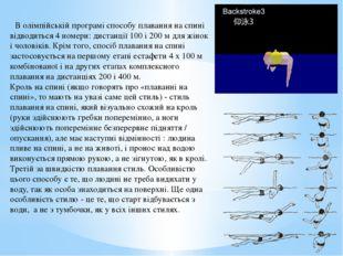 В олімпійській програмі способу плавання на спині відводиться 4 номери: дист