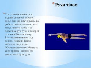 Рухи тілом Тіло плавця згинається уздовж своєї осі вправо і вліво так, що пле