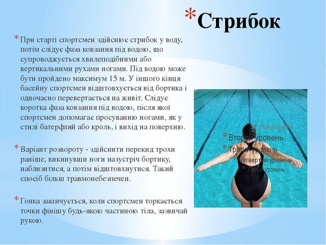 Стрибок При старті спортсмен здійснює стрибок у воду, потім слідує фаза ковза...