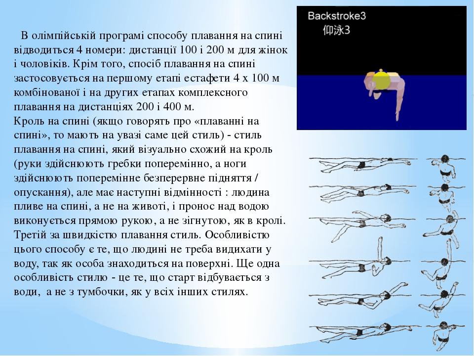 В олімпійській програмі способу плавання на спині відводиться 4 номери: дист...