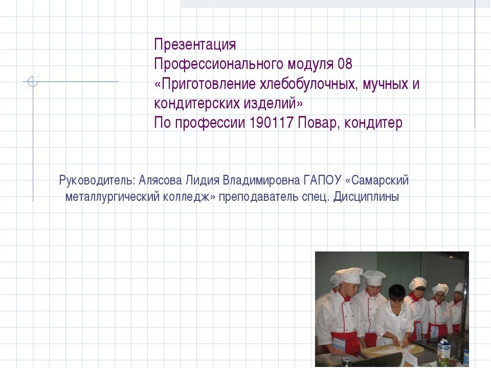 Презентация Профессионального модуля 08 «Приготовление хлебобулочных, мучных...