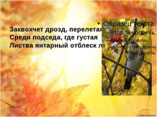 Заквохчет дрозд, перелетая Среди подседа, где густая Листва янтарный отблеск