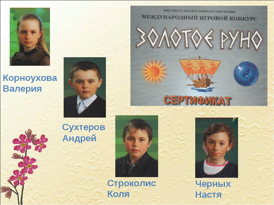 Корноухова Валерия Сухтеров Андрей Строколис Коля Черных Настя