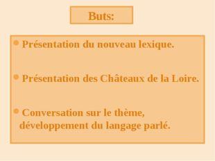 Présentation du nouveau lexique. Présentation des Châteaux de la Loire. Conve