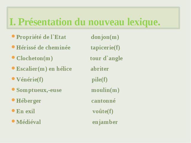 Propriété de l`Etat donjon(m) Hérissé de cheminée tapicerie(f) Clocheton(m) t...