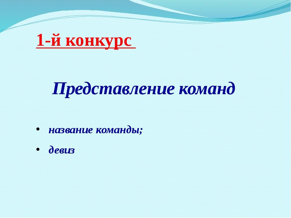 1-й конкурс Представление команд название команды; девиз
