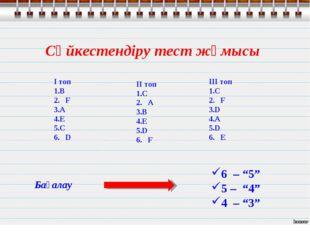 Сәйкестендіру тест жұмысы І топ В 2. F A E C 6. D ІI топ C 2. A B E D 6. F ІI