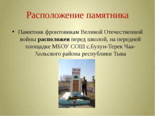 Расположение памятника Памятник фронтовикам Великой Отечественной войны распо
